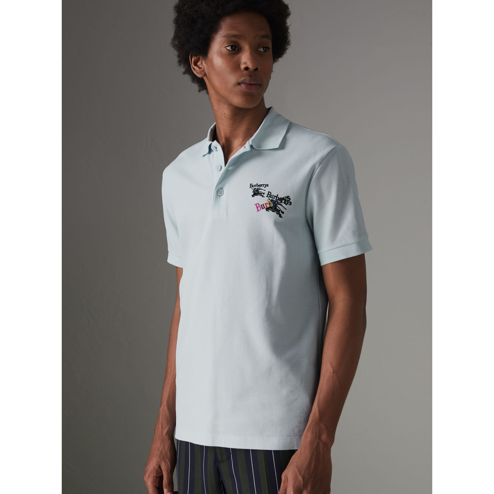 Triple Archive Logo Cotton Piqué Polo Shirt in Pearl Blue - Men | Burberry United Kingdom - gallery image 4