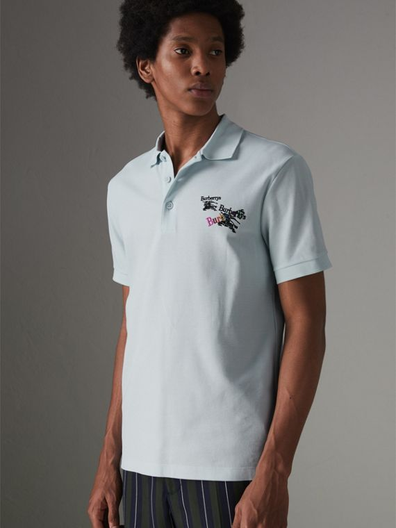 Triple Archive Logo Cotton Piqué Polo Shirt in Pearl Blue