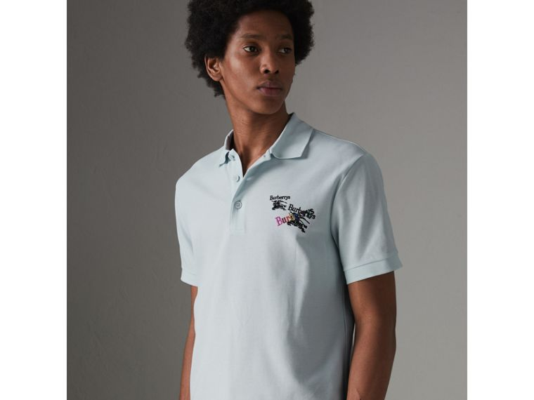 Triple Archive Logo Cotton Piqué Polo Shirt in Pearl Blue - Men | Burberry - cell image 4