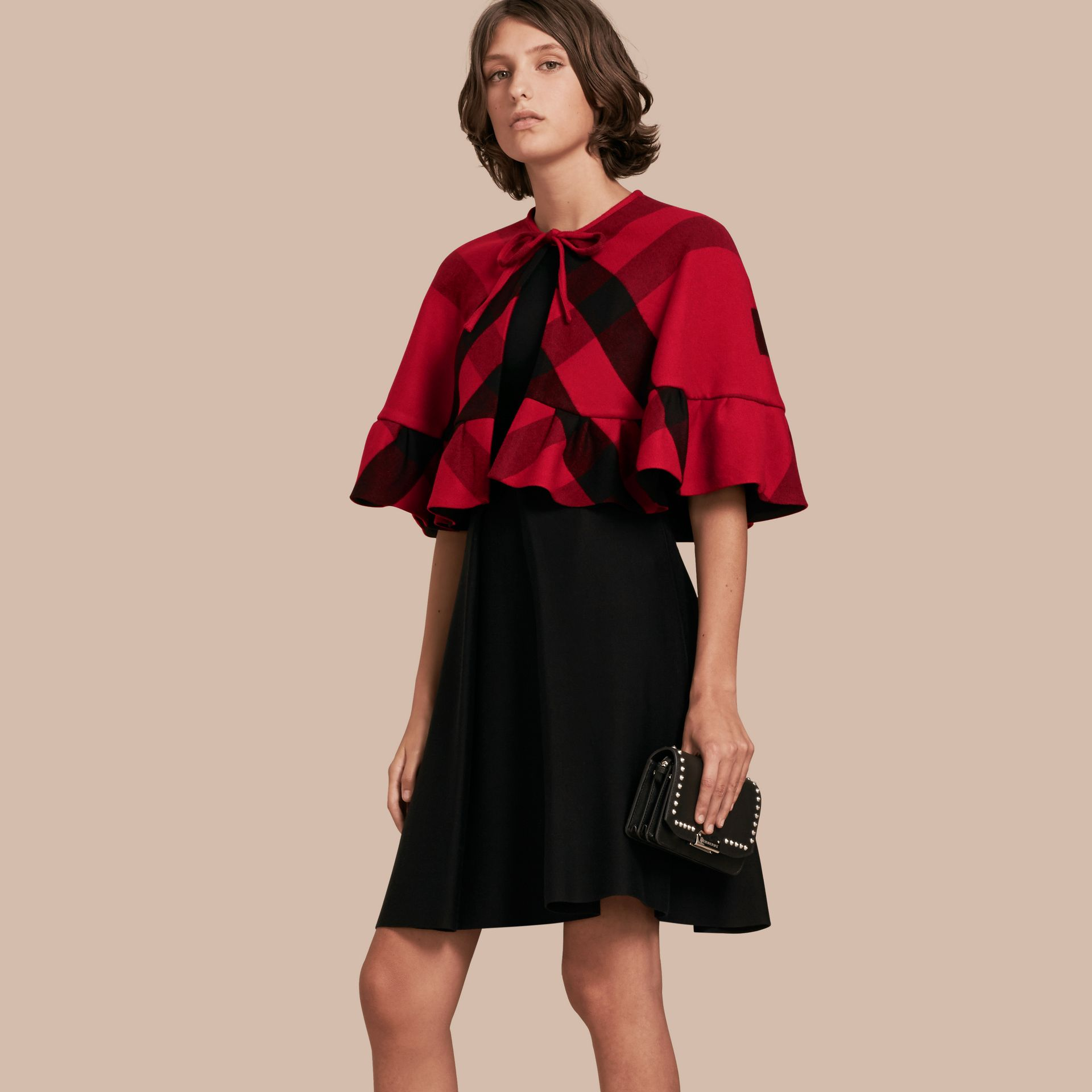 Ruffled Hem Check Wool Cape in Parade Red - gallery image 1