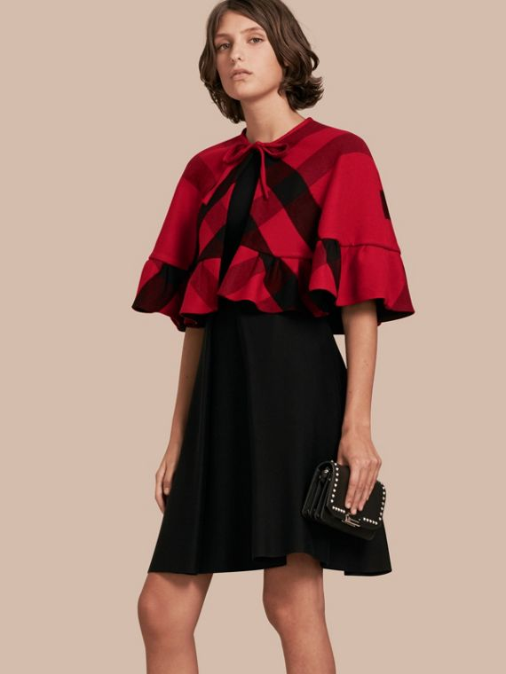 Ruffled Hem Check Wool Cape in Parade Red