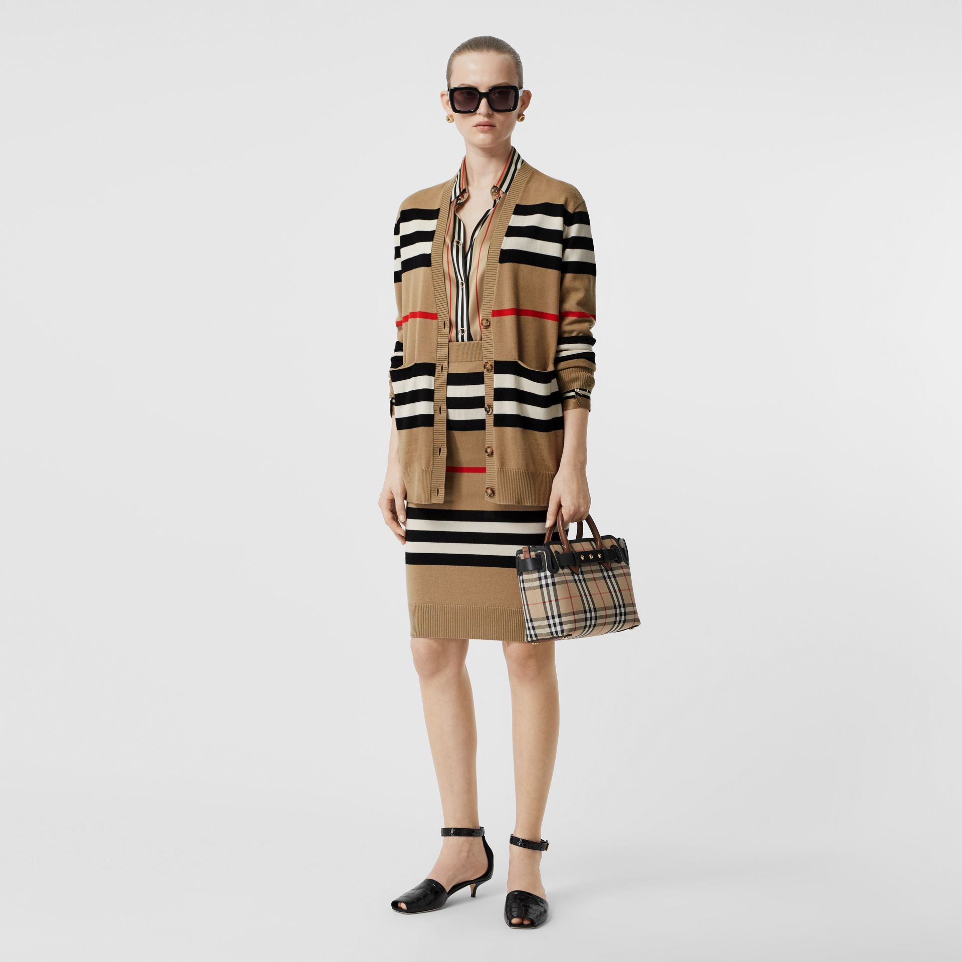 Icon Stripe Merino Wool Pencil Skirt in Archive Beige - Women | Burberry - gallery image 0