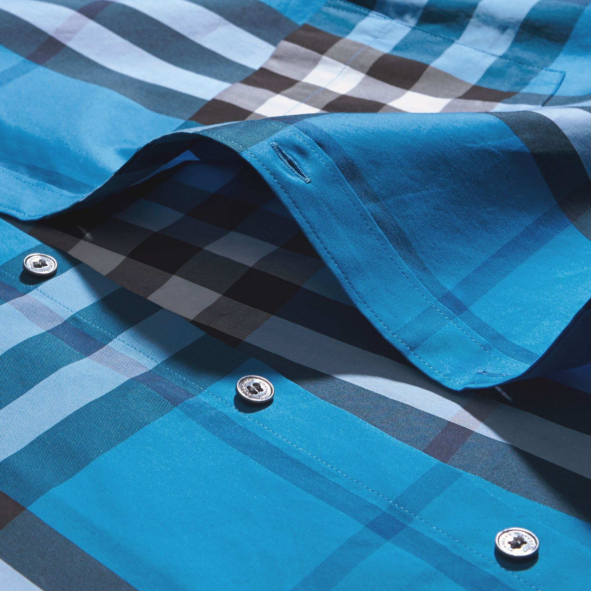 Bright blue Check Stretch Cotton Shirt Bright Blue - gallery image 2