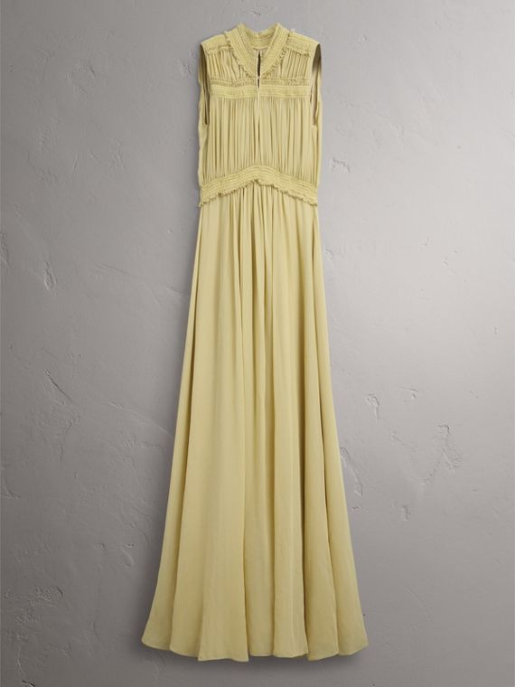 Ruched Silk Georgette Dress in Cornflower Yellow - Women | Burberry - cell image 3