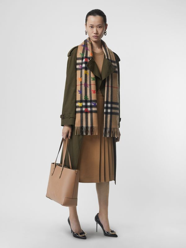 The Classic Check Cashmere Scarf in EKD Print in Camel | Burberry Canada - cell image 2