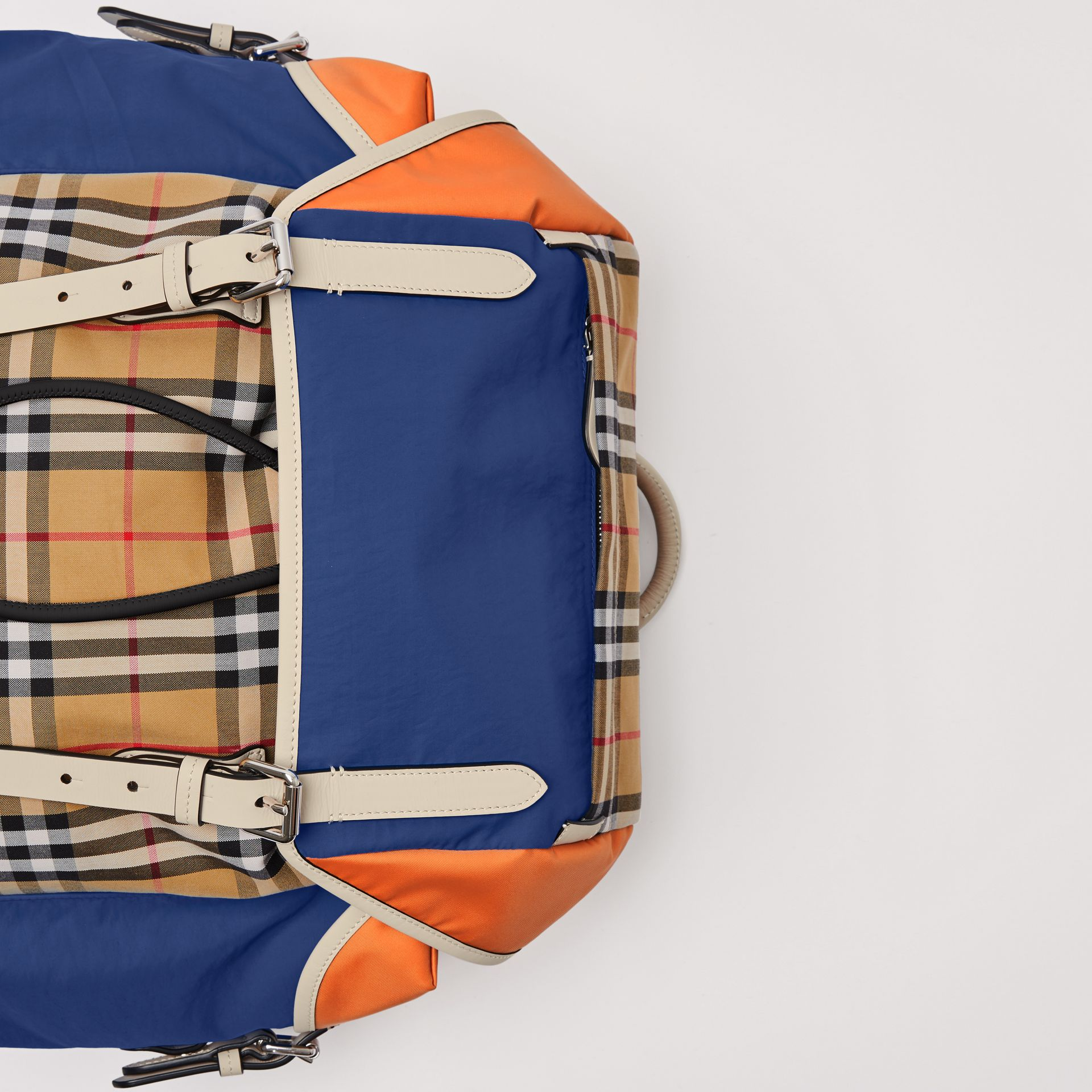 Colour Block Vintage Check and Leather Backpack in Cerulean Blue - Men | Burberry Australia - gallery image 1