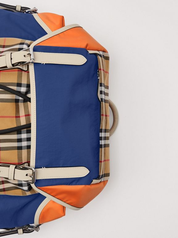 Colour Block Vintage Check and Leather Backpack in Cerulean Blue - Men | Burberry Australia - cell image 1