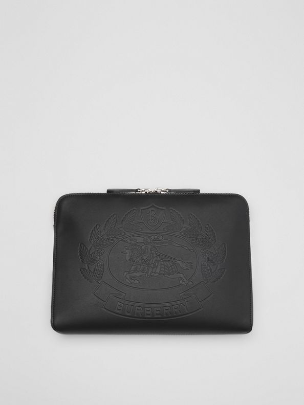 Embossed Crest Leather Document Case in Black