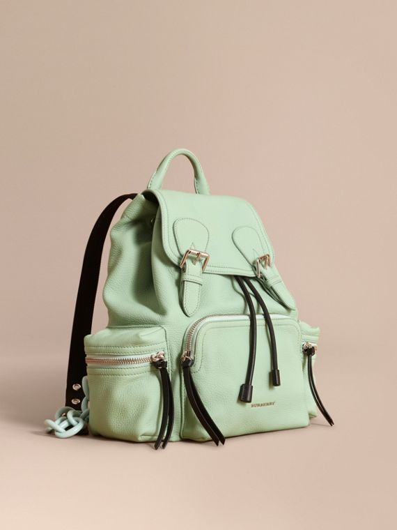 The Medium Rucksack in Deerskin with Resin Chain Spearmint