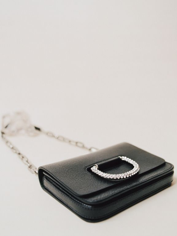 The Mini Leather Crystal D-ring Bag in Black - Women | Burberry Australia - cell image 1