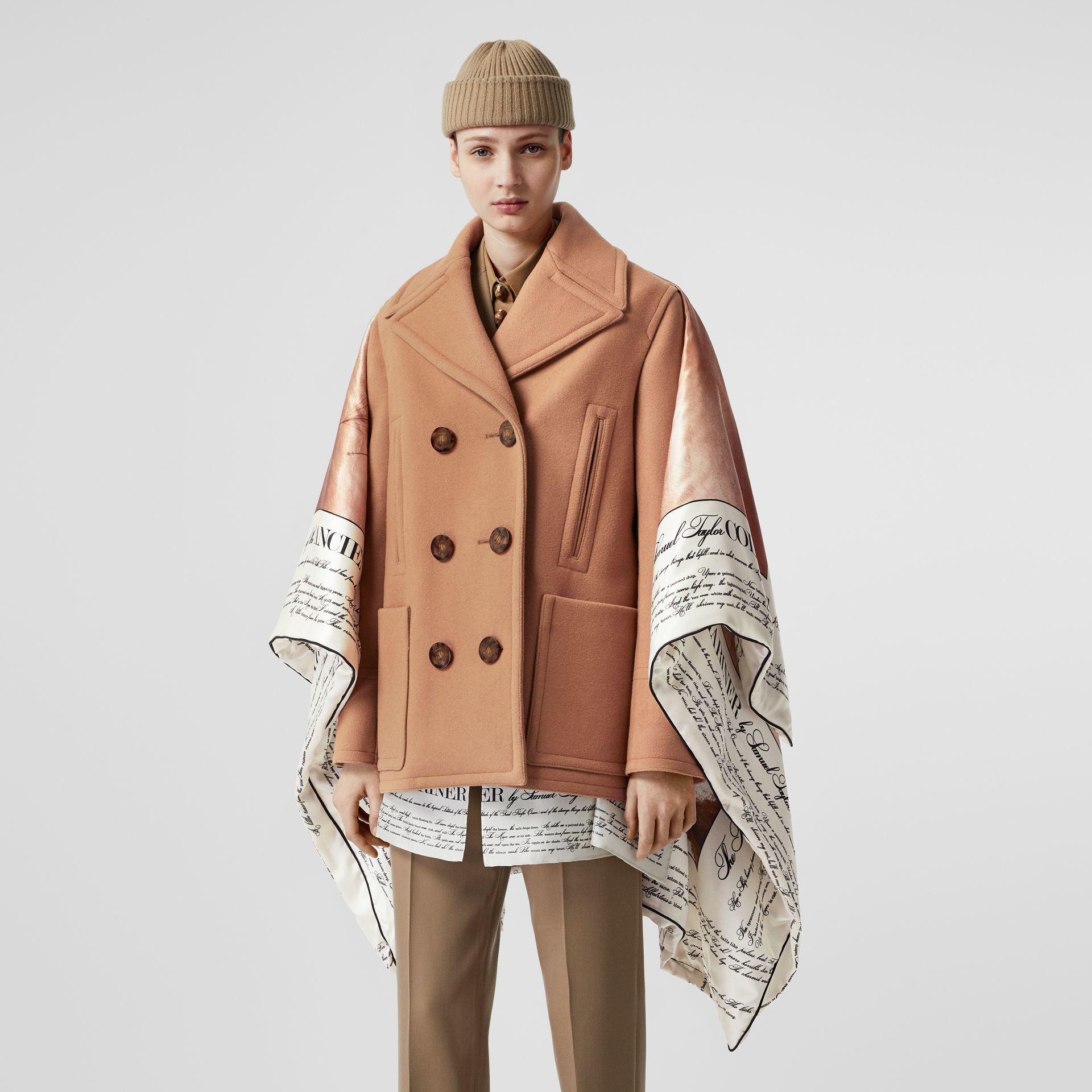 Mariner Print Blanket Detail Technical Wool Pea Coat in Warm Camel - Women | Burberry United Kingdom - gallery image 5