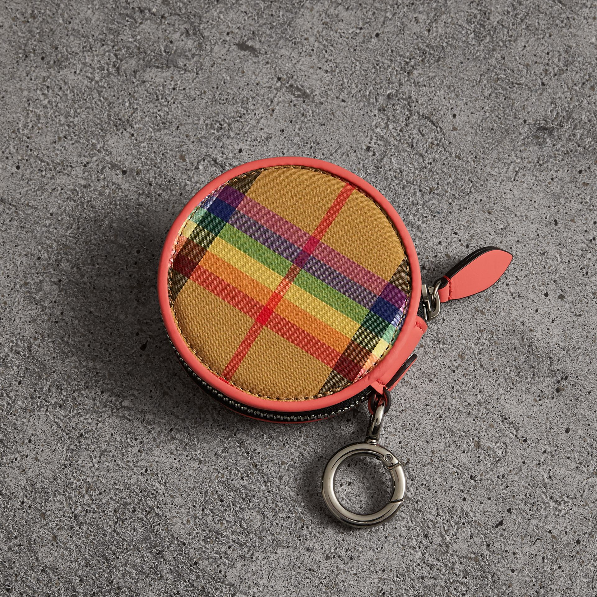 Rainbow Vintage Check Coin Case in Bright Peony | Burberry Australia - gallery image 0