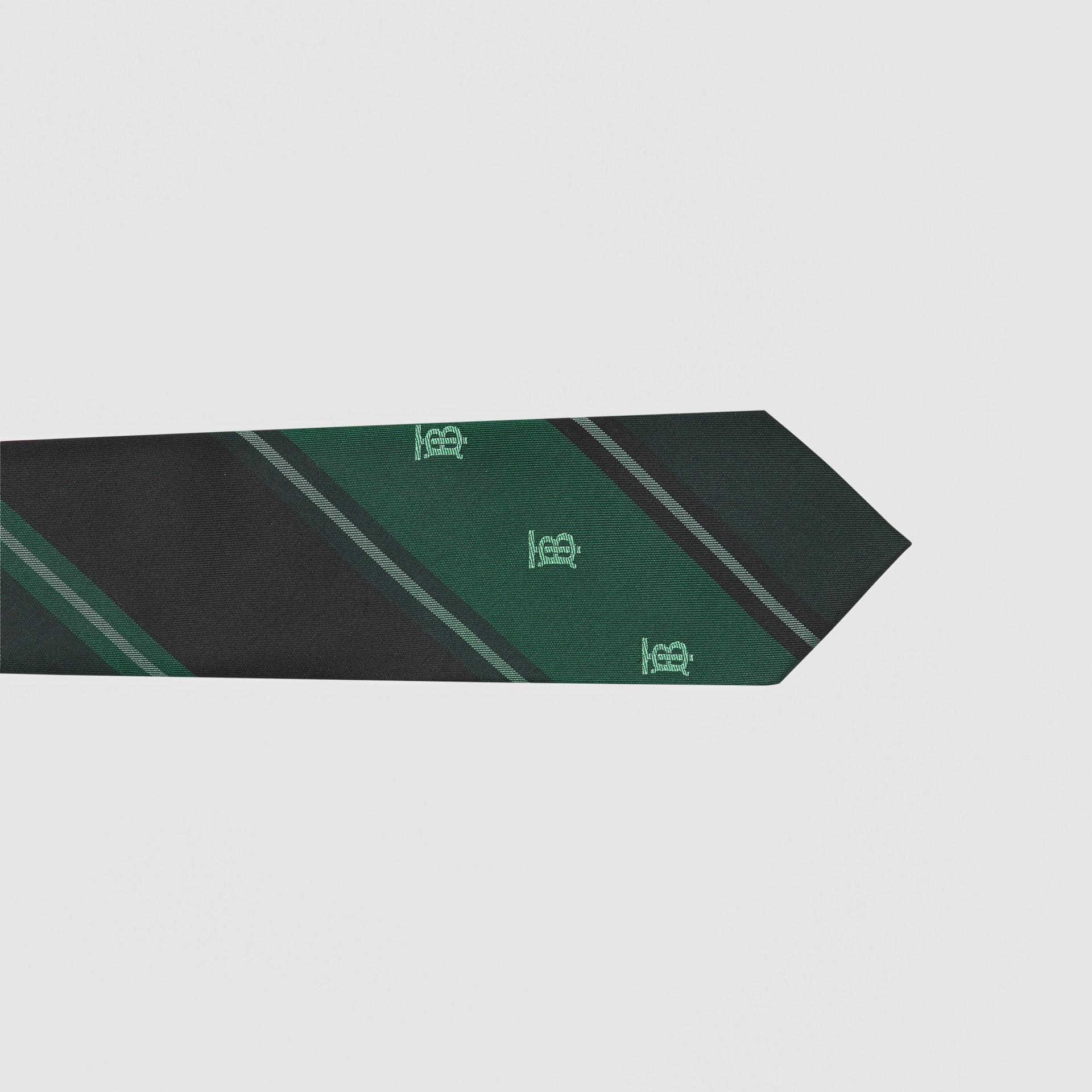 Cravate classique rayée en jacquard de soie Monogram (Vert Forêt) - Homme | Burberry Canada - photo de la galerie 1