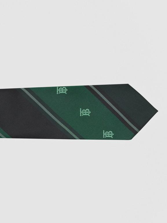Cravate classique rayée en jacquard de soie Monogram (Vert Forêt) - Homme | Burberry Canada - cell image 1