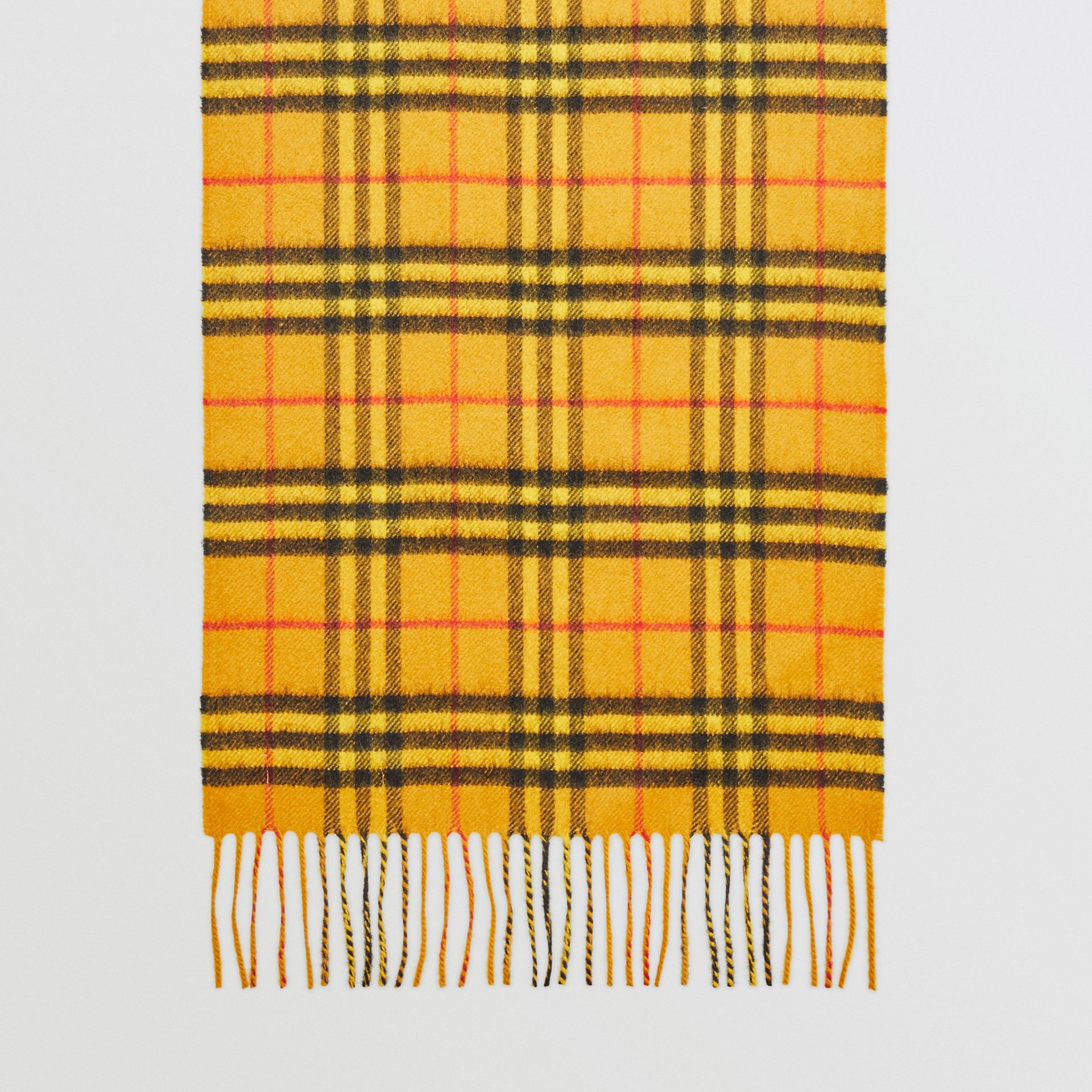 The Classic Vintage Check Cashmere Scarf in Vibrant Yellow | Burberry Australia - gallery image 2
