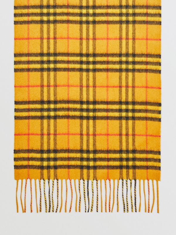 The Classic Vintage Check Cashmere Scarf in Vibrant Yellow | Burberry Australia - cell image 2