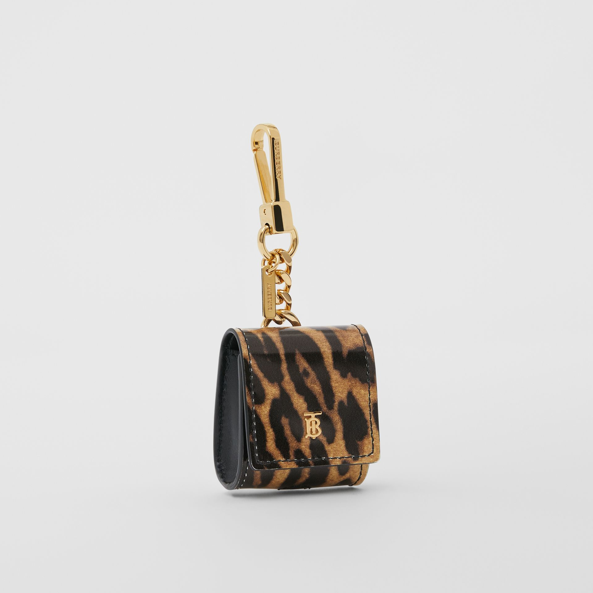Leopard Print Leather Earphone Case in Dark Mustard | Burberry United States - gallery image 2
