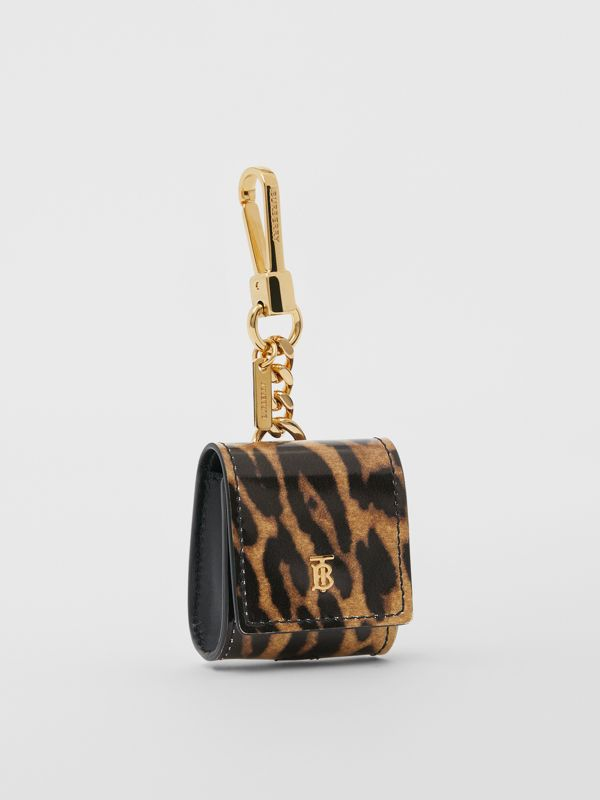 Leopard Print Leather Earphone Case in Dark Mustard | Burberry United States - cell image 2