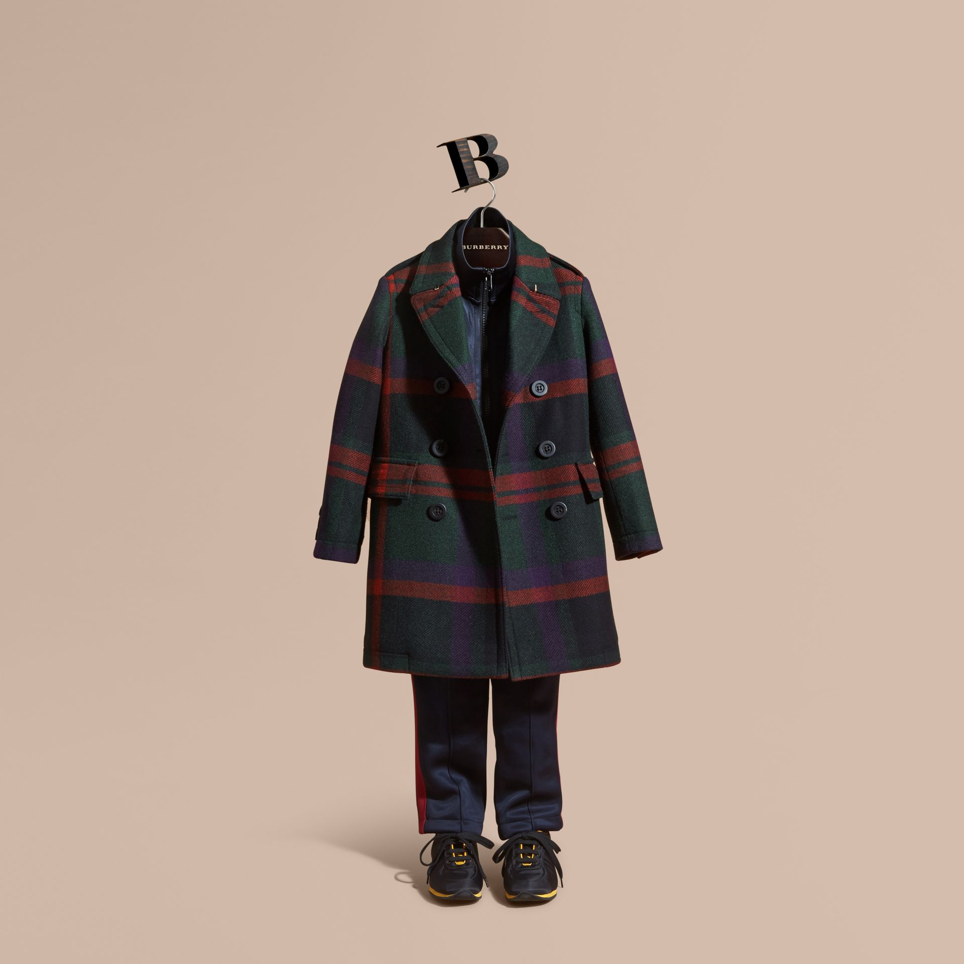 Dark teal Check Wool Topcoat - gallery image 1