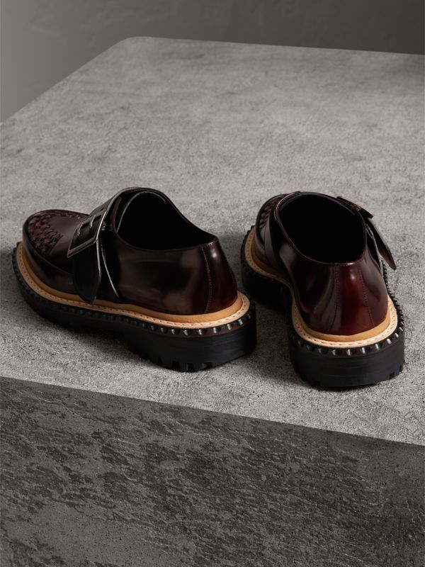 Woven-toe Leather Shoes in Bordeaux - Women | Burberry - cell image 3