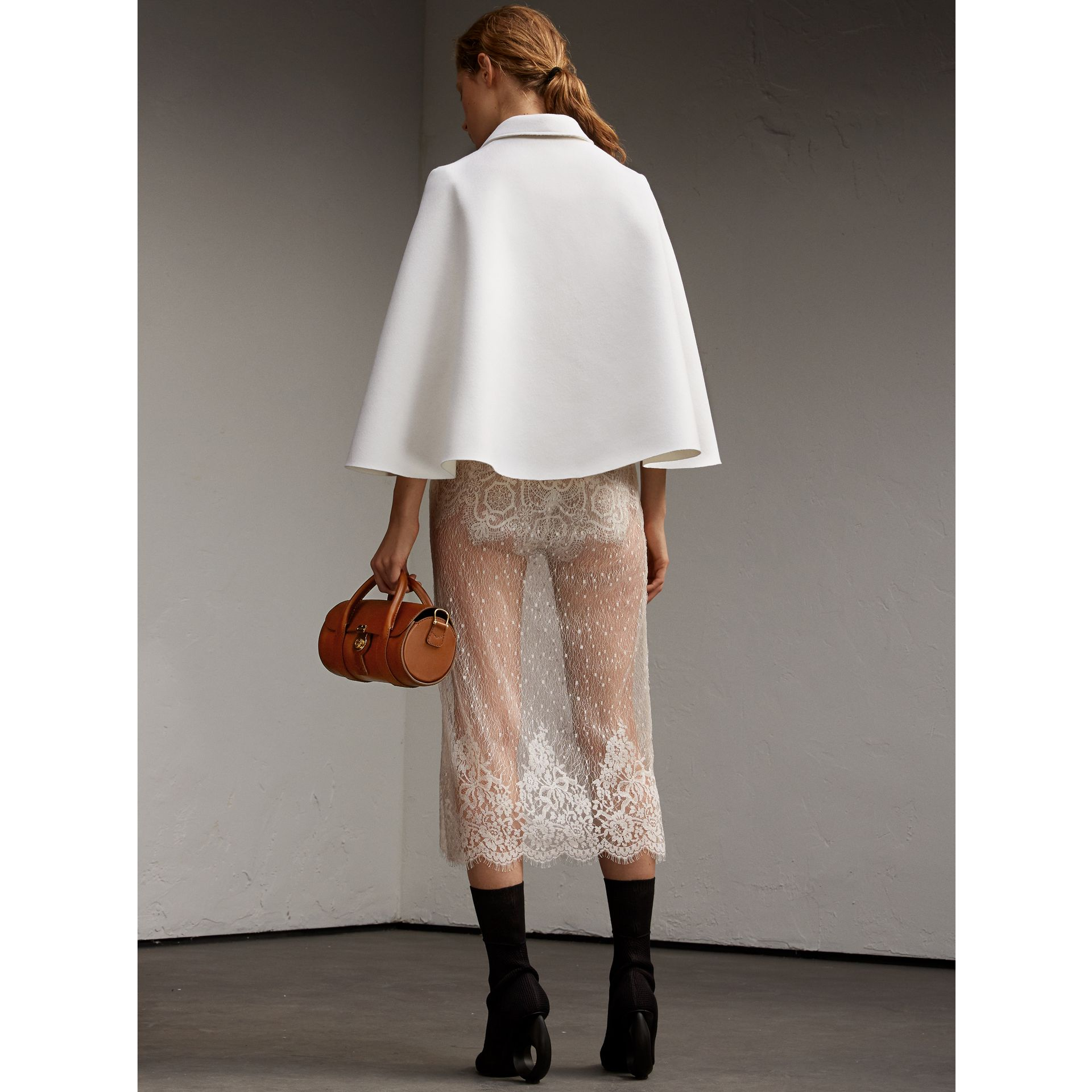Double-faced Wool Cape Jacket White - gallery image 3
