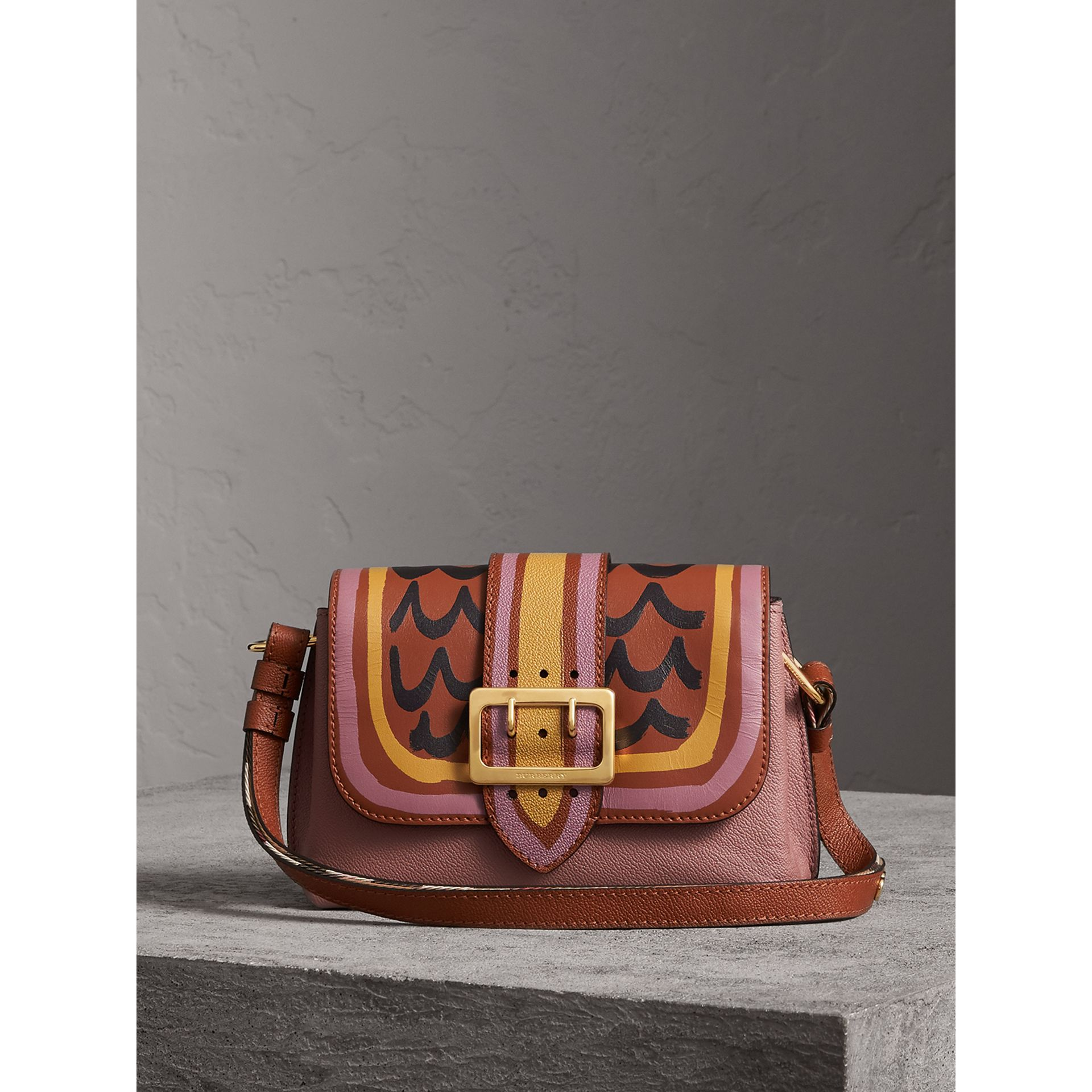 The Buckle Crossbody Bag in Trompe L'oeil Leather in Dusty Pink/bright Toffee - Women | Burberry - gallery image 1