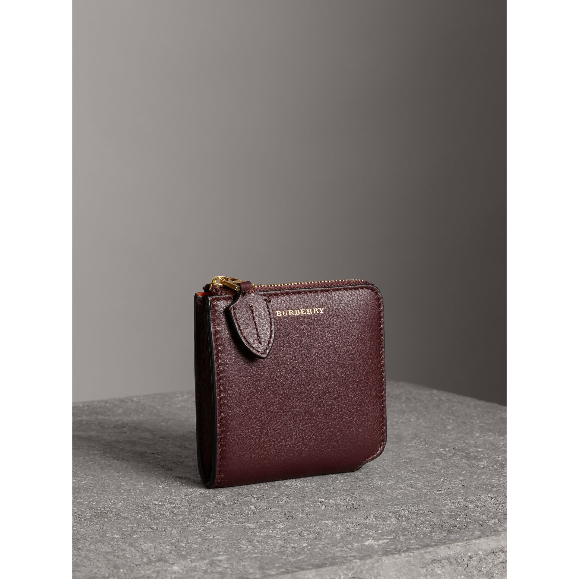 Grainy Leather Square Ziparound Wallet in Deep Claret - Women | Burberry - gallery image 4