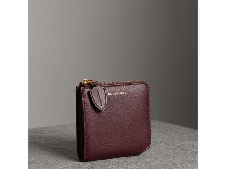 Grainy Leather Square Ziparound Wallet in Deep Claret - Women | Burberry - cell image 4