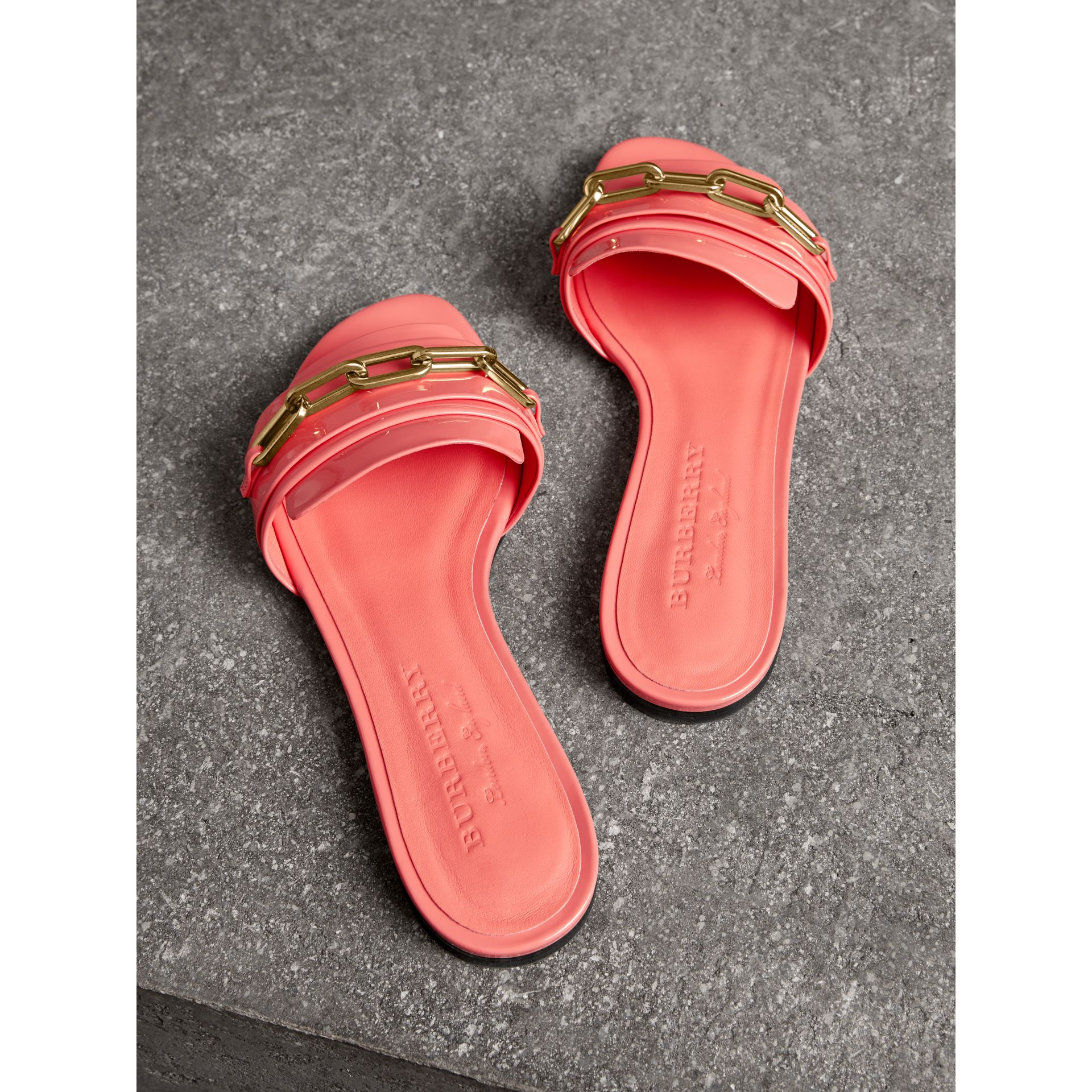 Link Detail Patent Leather Slides in Pink Azalea - Women | Burberry - gallery image 2