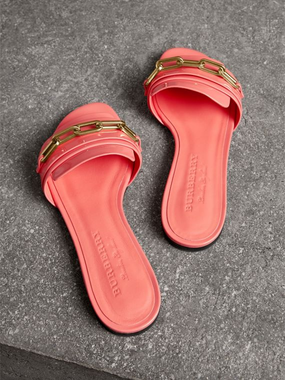 Link Detail Patent Leather Slides in Pink Azalea - Women | Burberry - cell image 2
