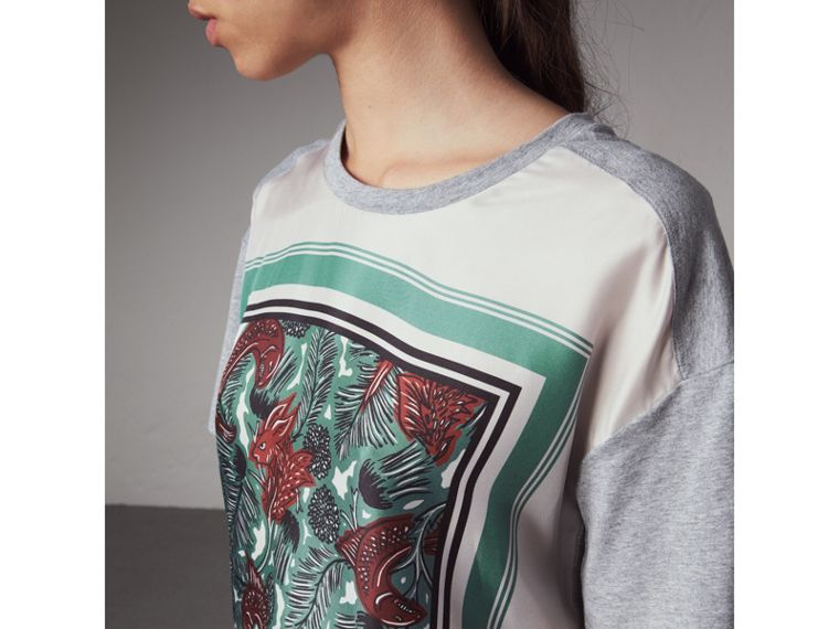 Beasts Print Silk Panel Cotton T-shirt in Pale Grey Melange - Women | Burberry United Kingdom - cell image 1