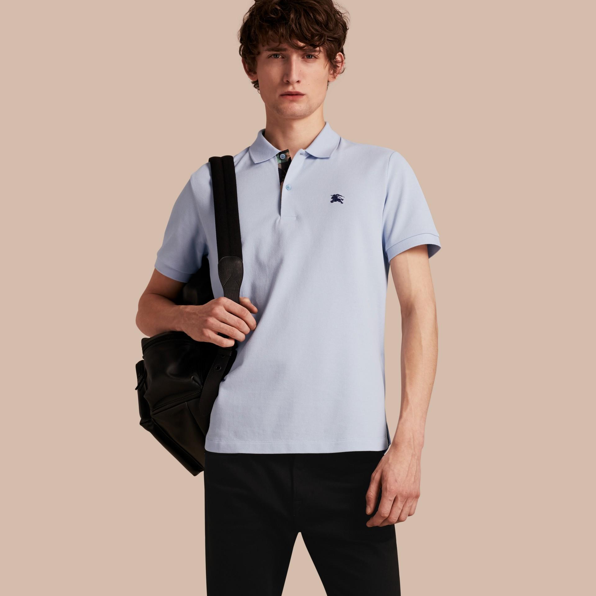 Printed Check Placket Cotton Piqué Polo Shirt - gallery image 1