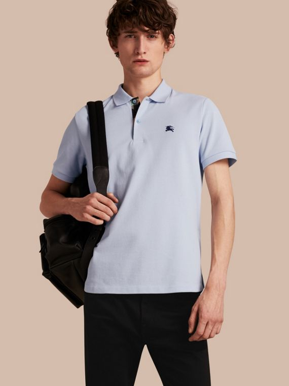 Printed Check Placket Cotton Piqué Polo Shirt Bright Sky Blue