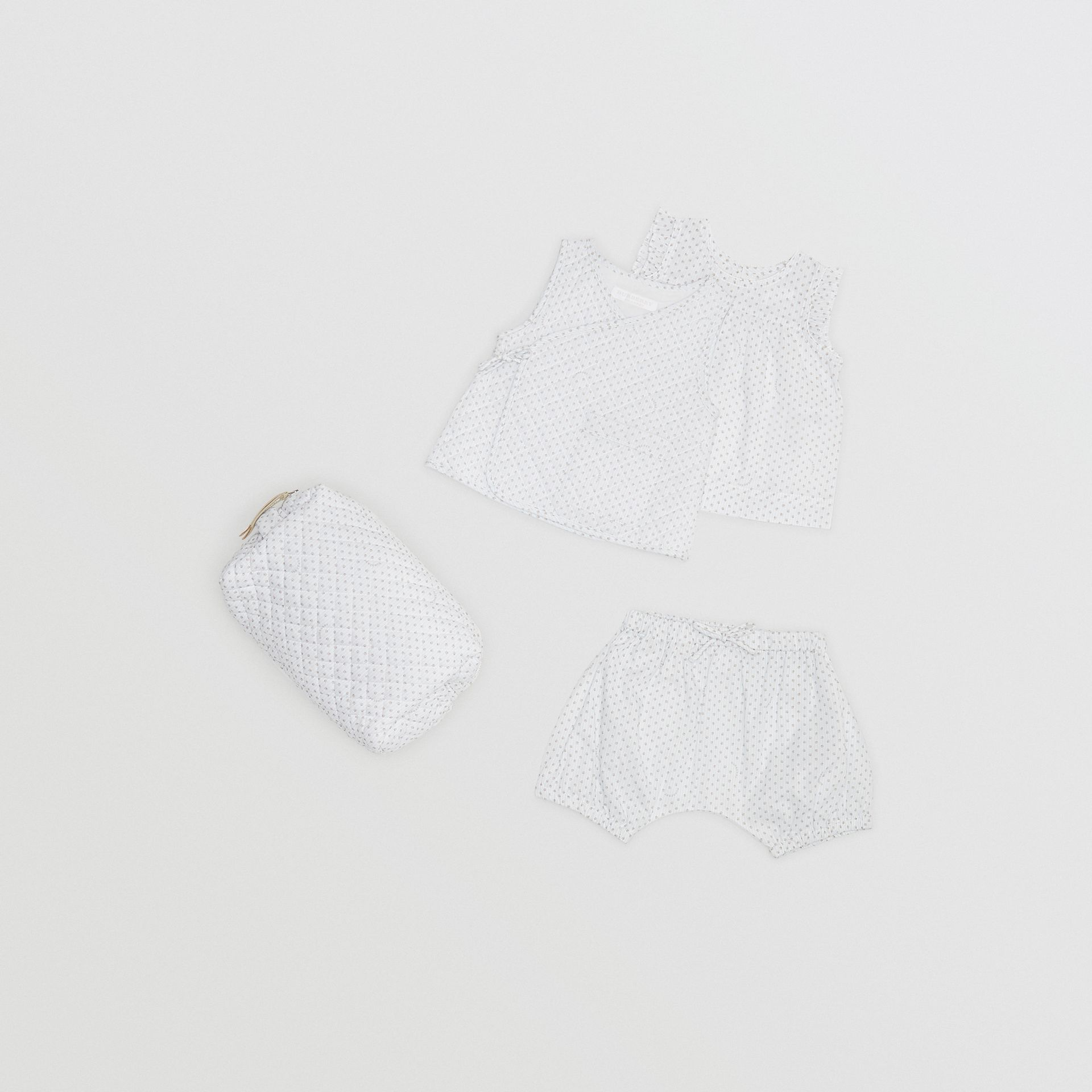 Polka Dot Cotton Three-piece Baby Gift Set in Natural White - Children | Burberry - gallery image 0