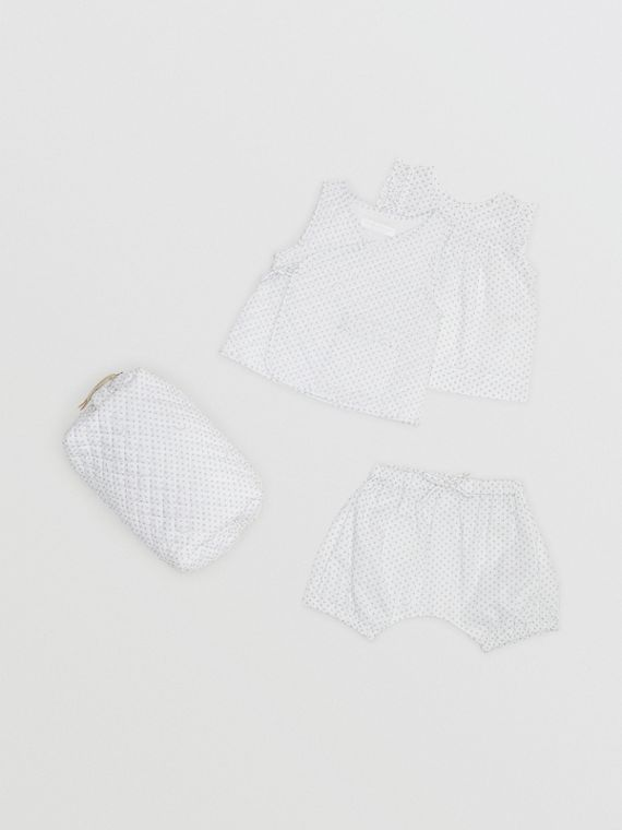 Polka Dot Cotton Three-piece Baby Gift Set in Natural White