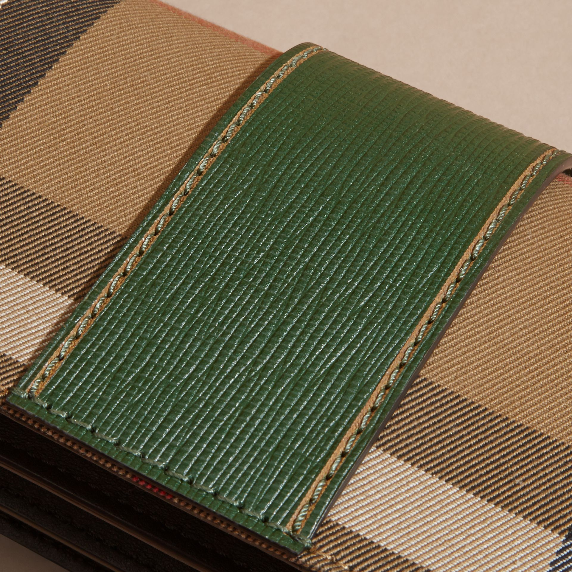 The Small Buckle Bag in House Check and Leather Kelly Green/kelly Green - gallery image 7