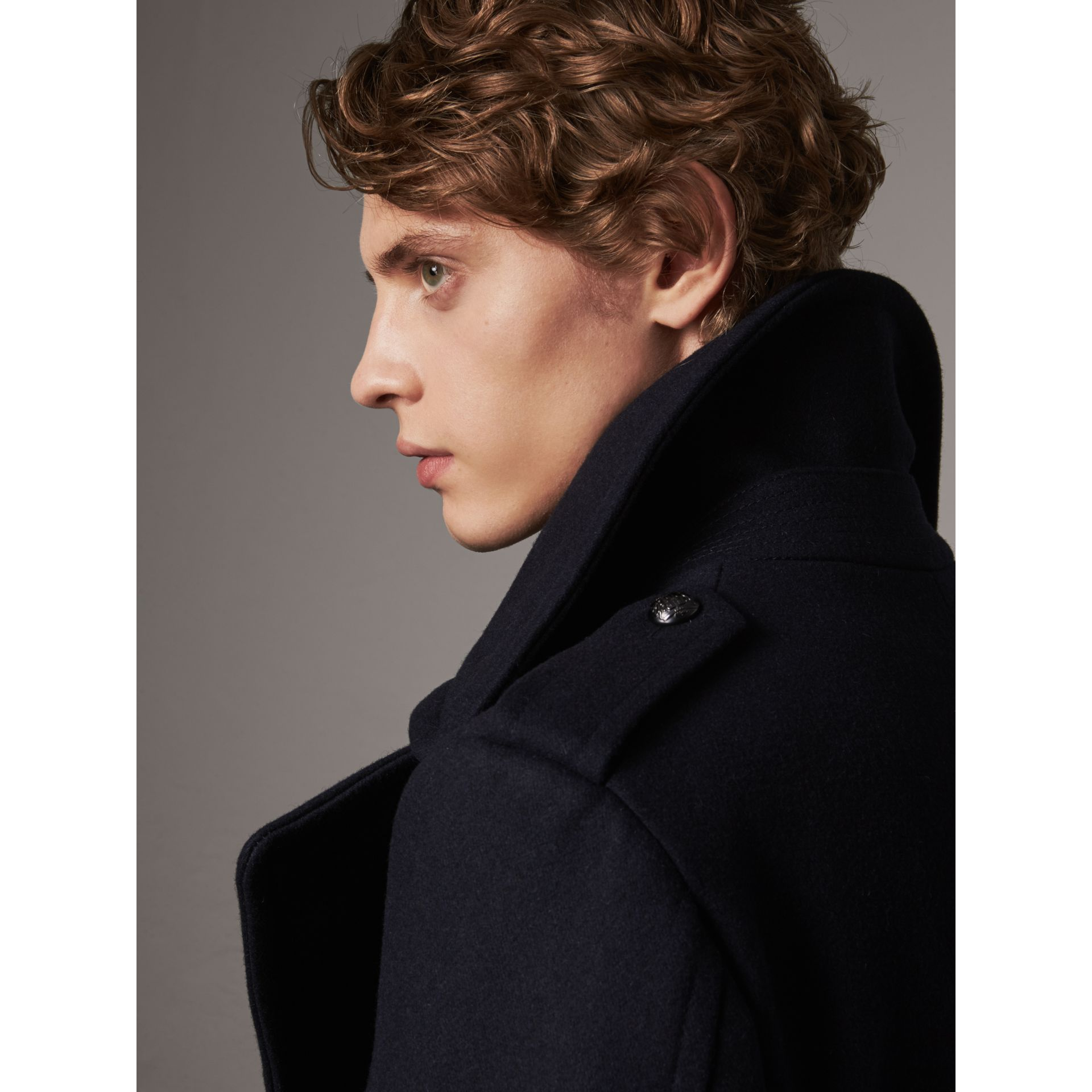 Detachable Mink Collar Wool Greatcoat in Navy - Men | Burberry - gallery image 5