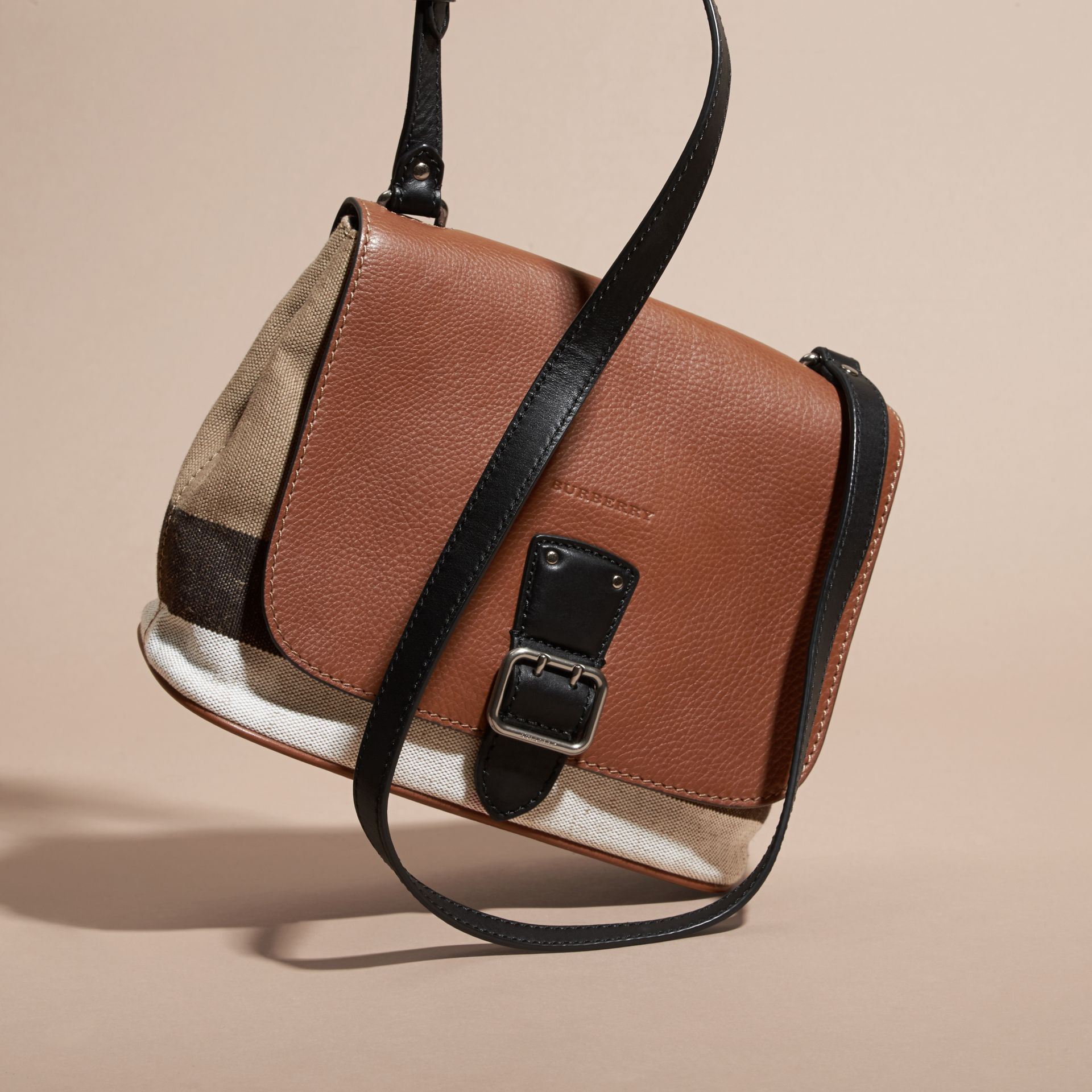 Tan Canvas Check and Leather Crossbody Bag - gallery image 7