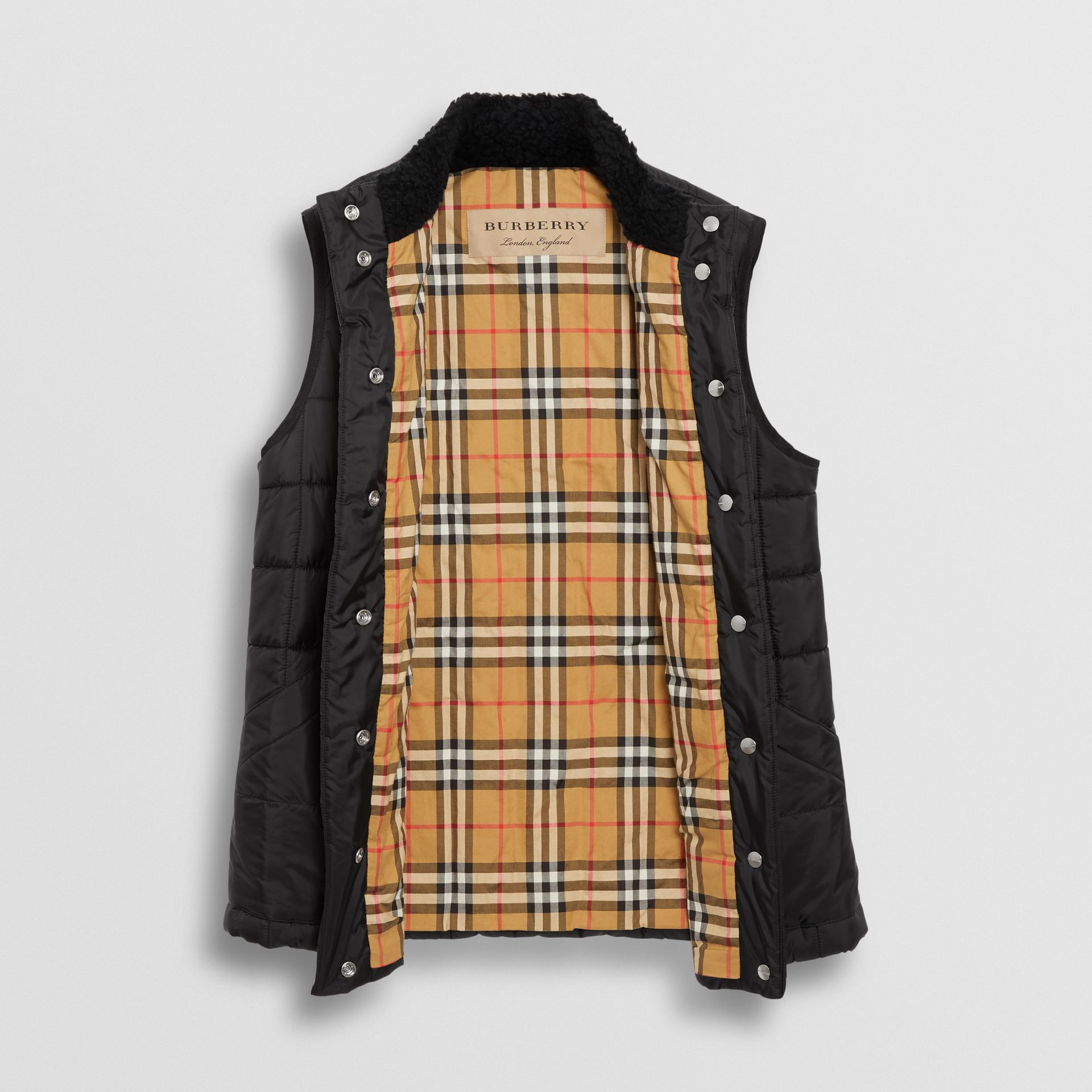 Faux Shearling Collar Lightweight Quilted Gilet in Black - Women | Burberry - gallery image 3