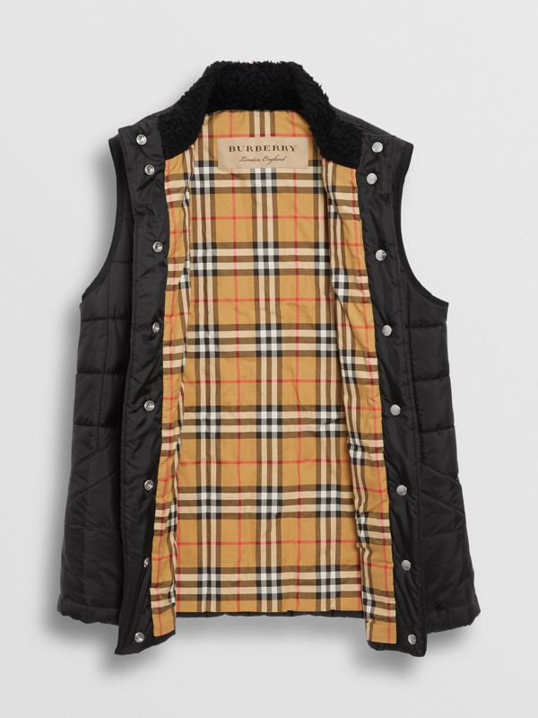 Faux Shearling Collar Lightweight Quilted Gilet in Black - Women | Burberry - cell image 3