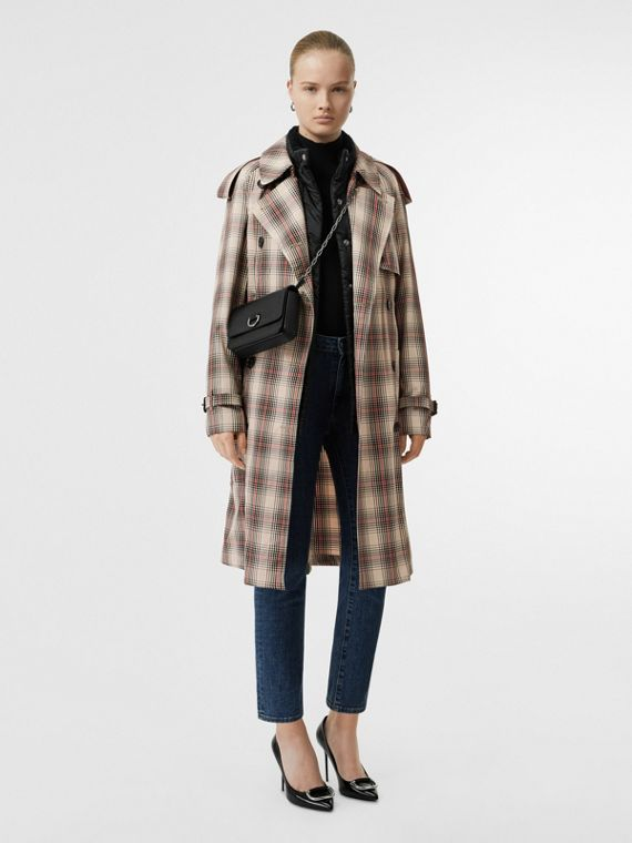 Lightweight Check Trench Coat in Light Nude