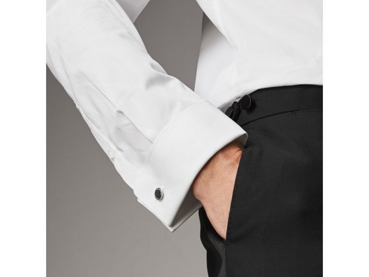 Modern Fit Double-cuff Cotton Poplin Shirt in White - Men | Burberry - cell image 1