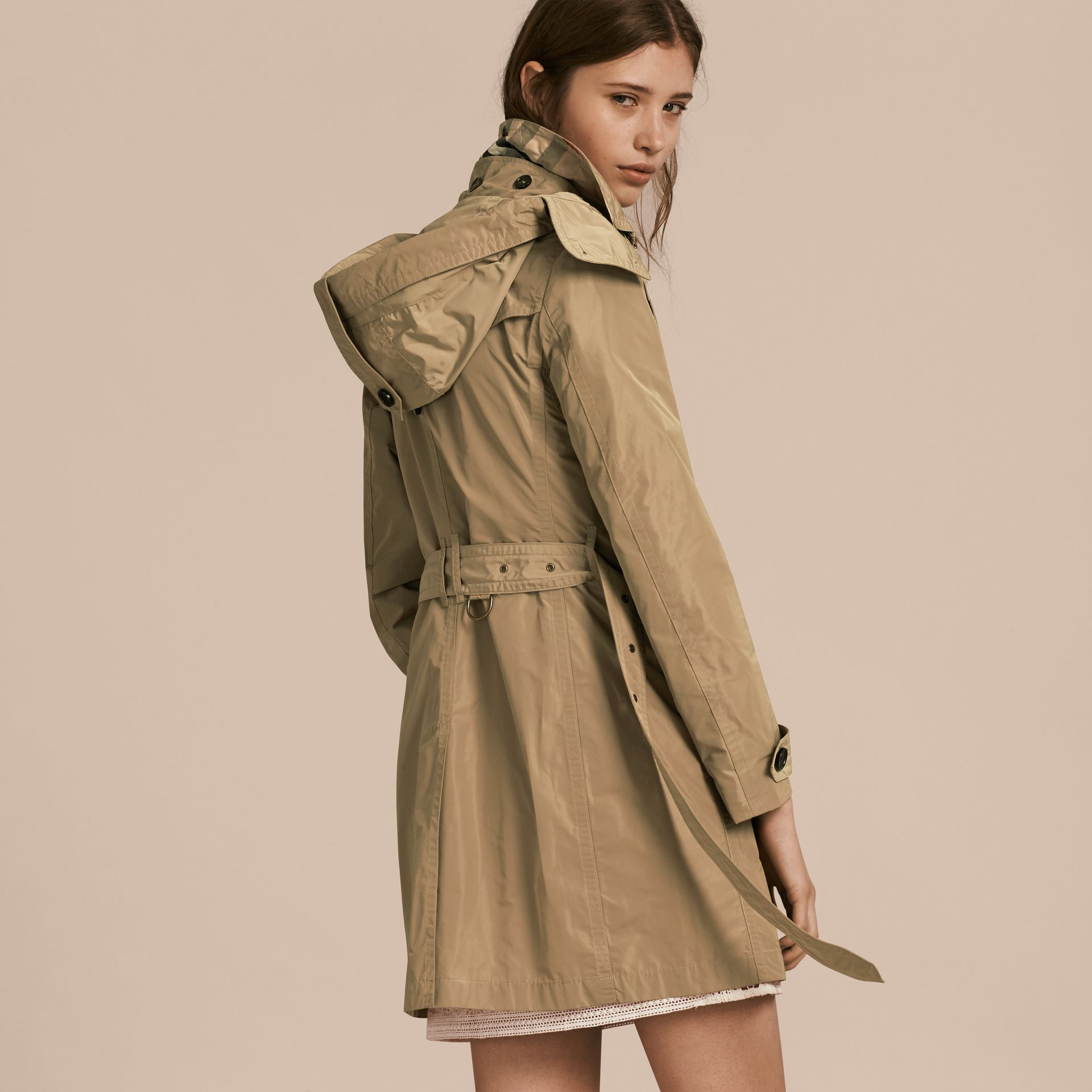 Taffeta Trench Coat with Detachable Hood in Sisal - gallery image 3