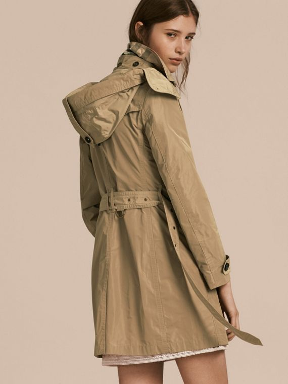 Taffeta Trench Coat with Detachable Hood in Sisal - cell image 2