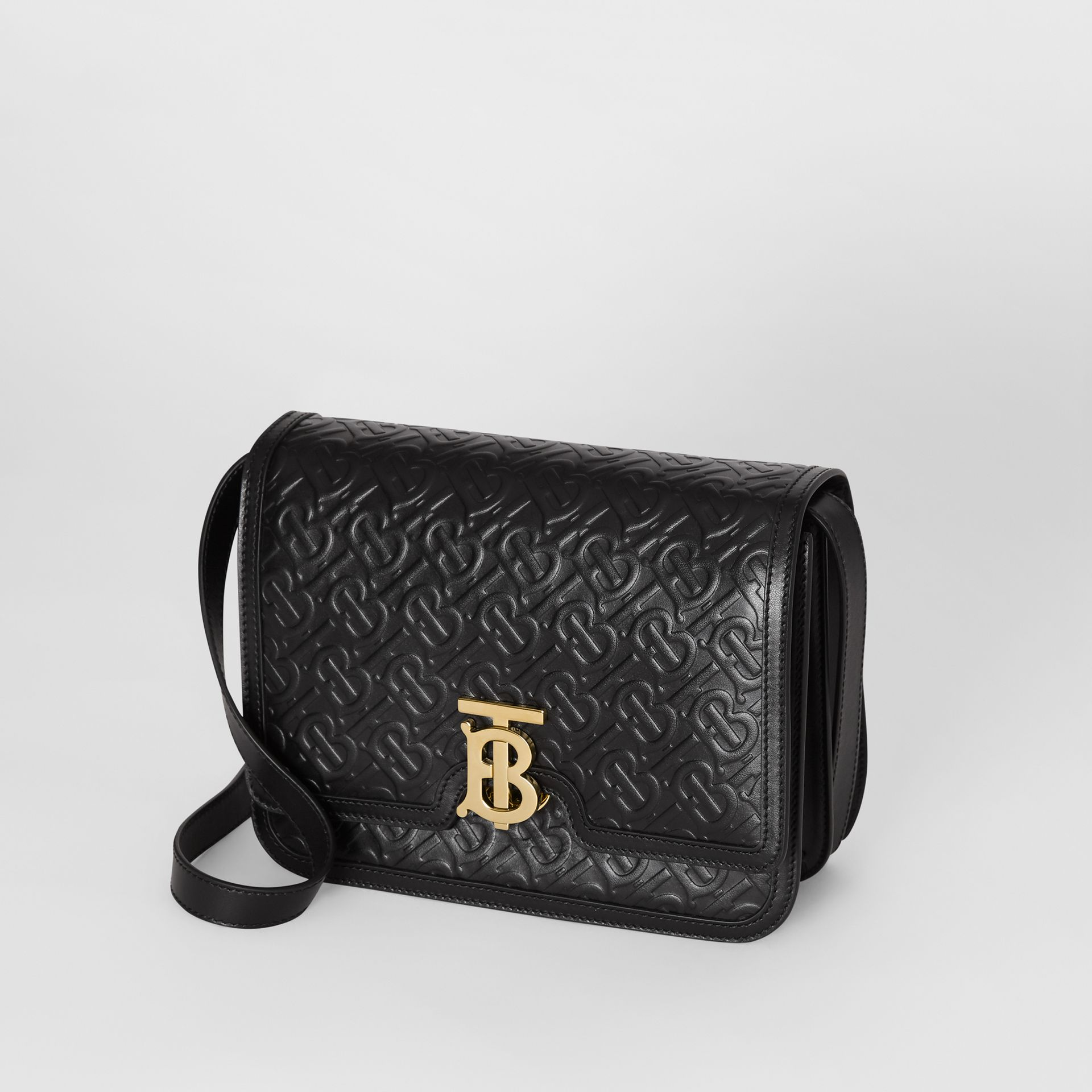 Medium Monogram Leather TB Bag in Black - Women | Burberry United Kingdom - gallery image 3