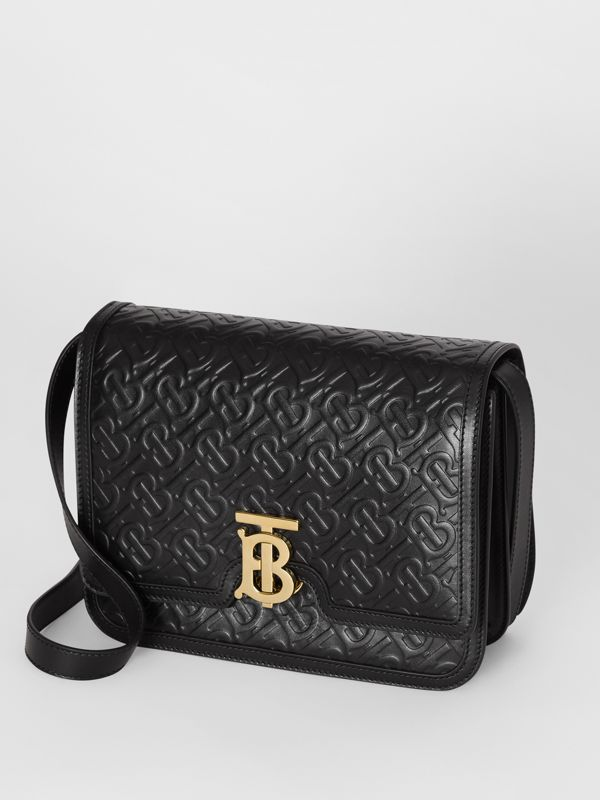 Medium Monogram Leather TB Bag in Black - Women | Burberry United Kingdom - cell image 3