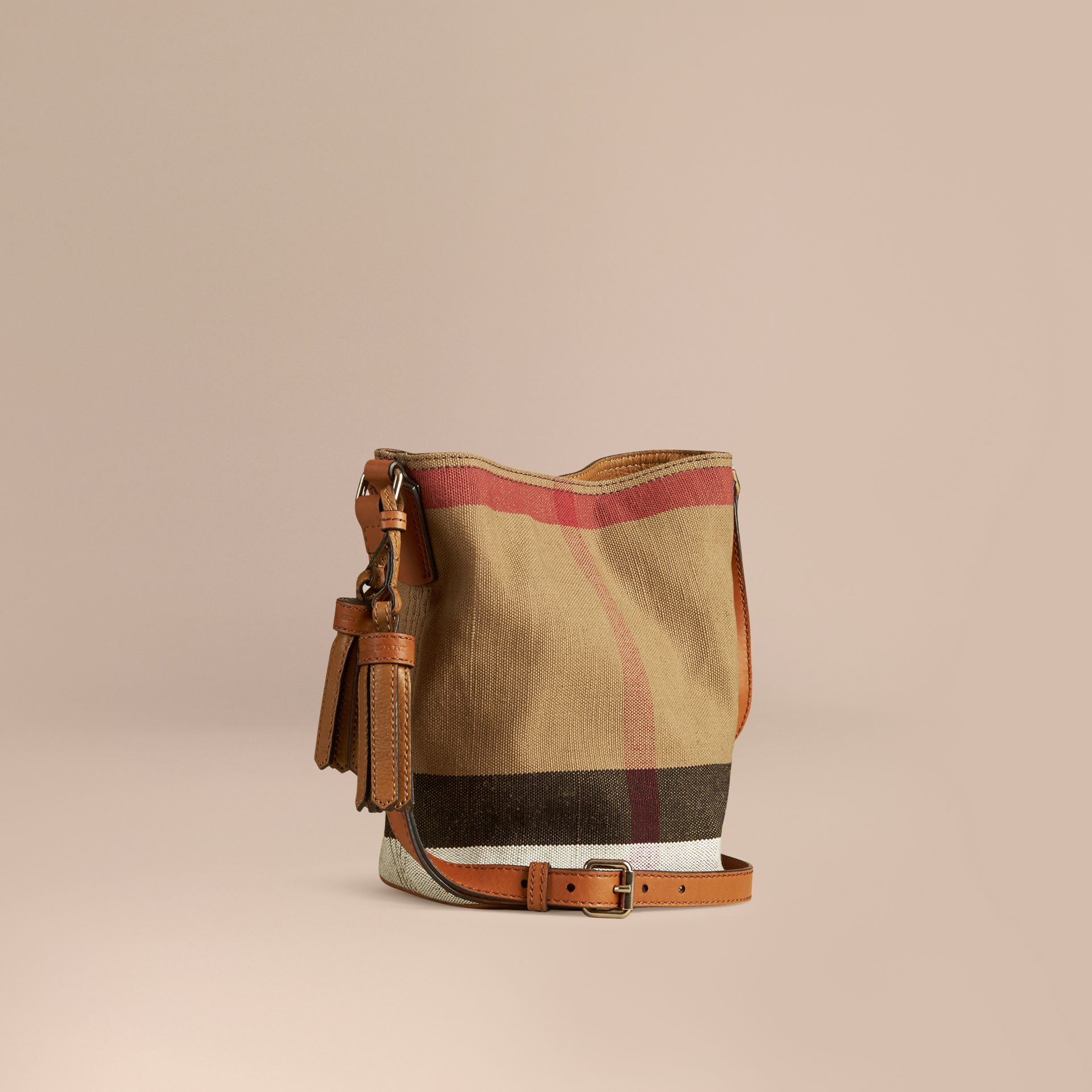 Saddle brown The Small Ashby in Canvas Check and Leather Saddle Brown - gallery image 1