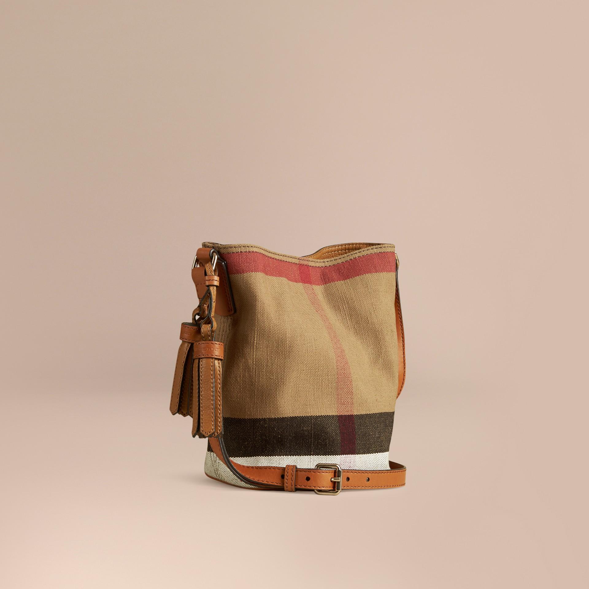 Marron cigare Petit sac The Ashby à motif Canvas check avec cuir Marron Cigare - photo de la galerie 1