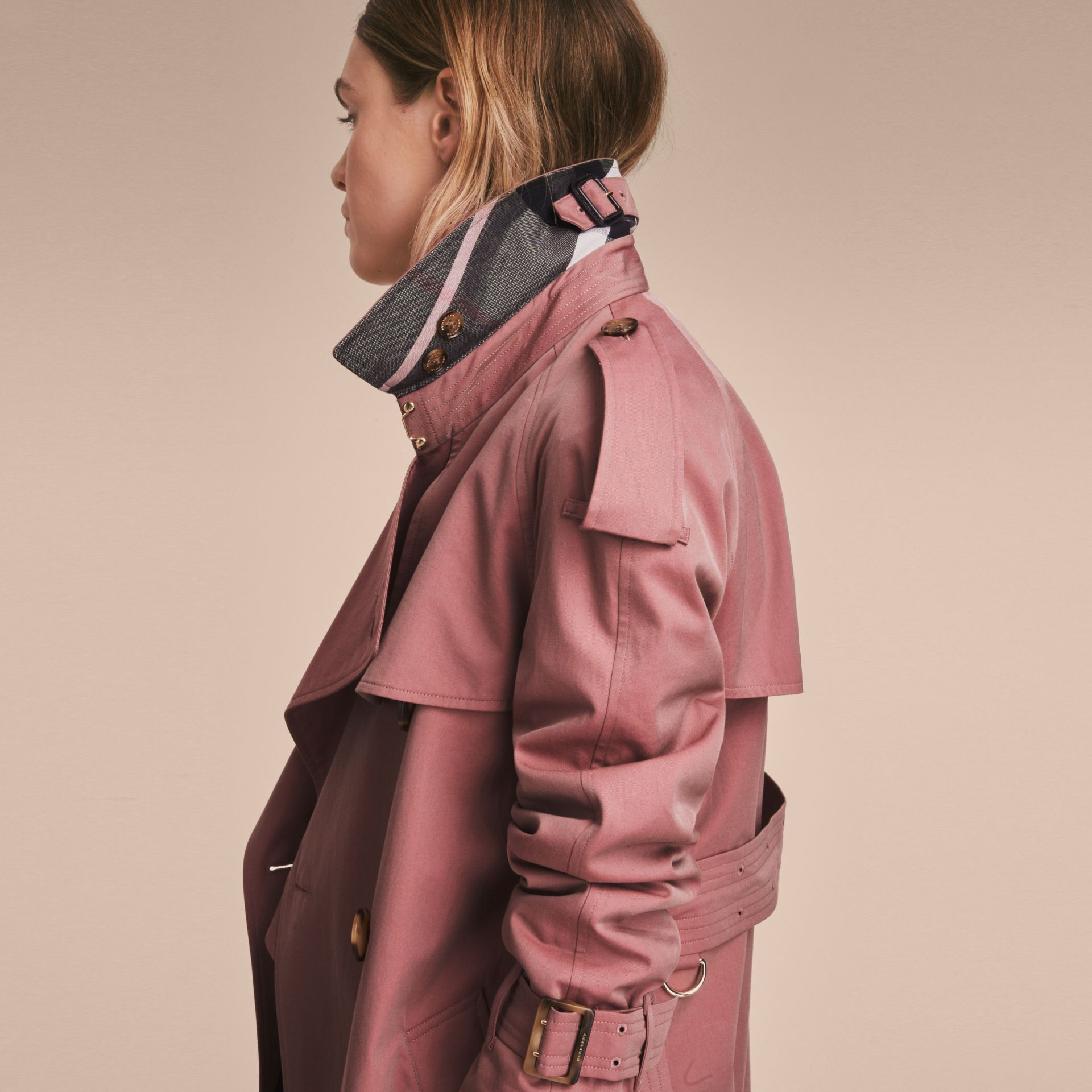 Tropical Gabardine Trench Coat in Antique Rose - Women | Burberry Singapore - gallery image 5