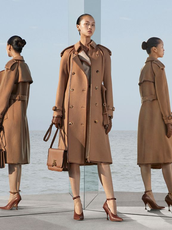 Button Panel Detail Wool Cashmere Trench Coat in Camel - Women | Burberry - cell image 1